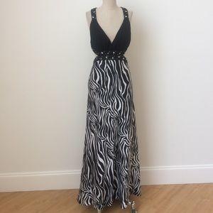 Dresses & Skirts - Beaded Zebra Satin Gown